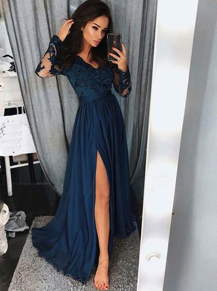 bfe95f2fa42b6 Appliques Beading V-Neck Navy Blue Chiffon Long Sleeve Evening Prom Dress