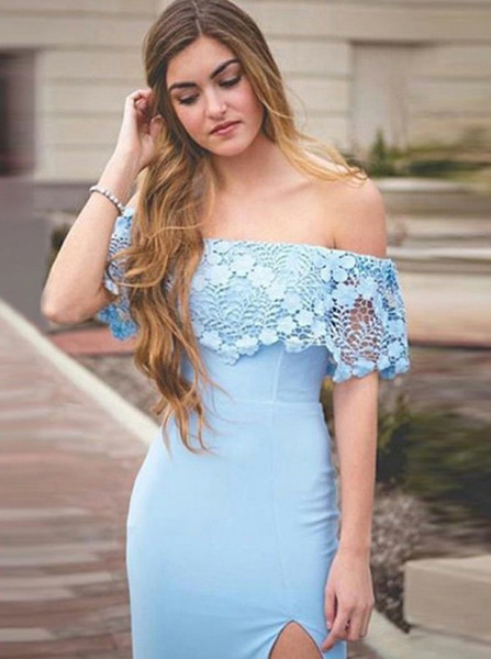 ce3b6b9ad4eb Light Blue Sheath Column Split Off-the-Shoulder Prom Dress with Lace