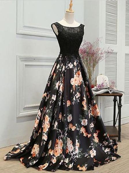 8a2f7c03c0 Lace Appliques Black Floral Satin A-Line Round Neck Prom Dress