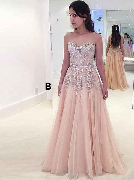921c16e9c Beading Detachable Train A-Line Sweetheart Pearl Pink Tulle Prom Dress with