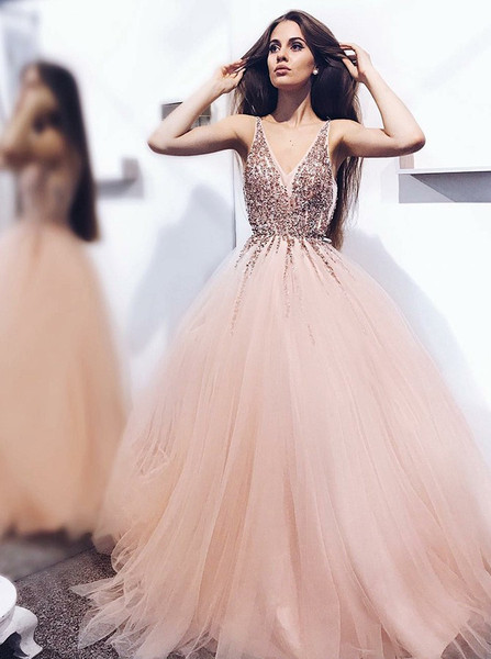 e1d6b058a4a Sequins Appliques A-Line V-Neck Pearl Pink Tulle Prom Dress