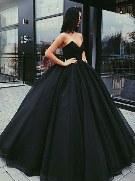 d81ba89a54c Ball Gown Sweetheart Long Black Tulle Prom Quinceanera Dress