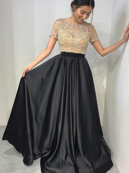 Beading Two Piece Short Sleeves Black Satin Prom Dress 52573ea0f1bb