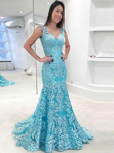 ee442ca2b413 Sheer Mermaid Scoop Light Blue Backless Lace Prom Dress