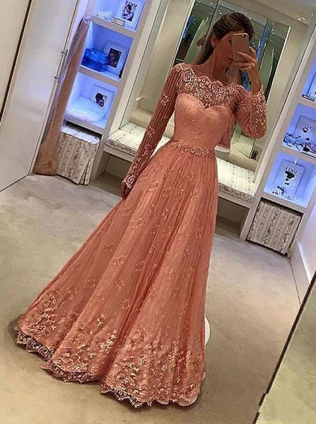 d38794fce9589 Appliques Scalloped-Edge Long Sleeves Peach Lace Prom Dress