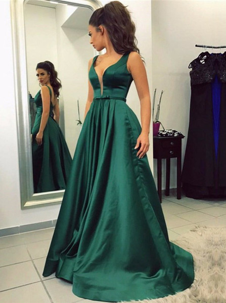 get cheap 2019 wholesale price purchase genuine Pockets V-Neck Sweep Train Emerald Green Satin Prom Dress