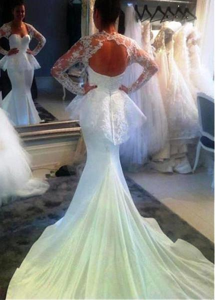 Long Sleeve Backless Lace Sweetheart Neckline Mermaid Wedding Dress,Semi Formal Modern Wedding Guest Formal Dress For Men