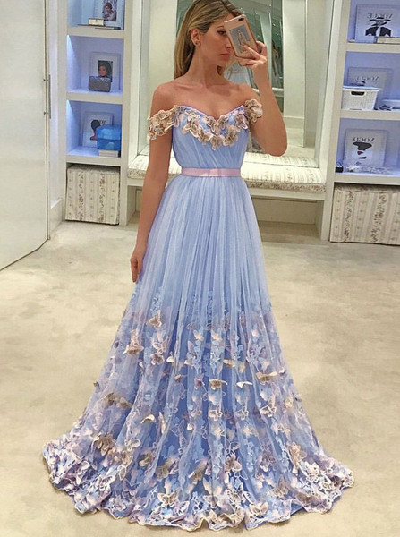 cf409d39ebf Appliques Butterfly Off-the-Shoulder Light Sky Blue Tulle Prom Dress