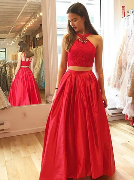 a2e29d0d61 Lace Rhinestones Two Piece V-Neck Long Red Satin Prom Dress