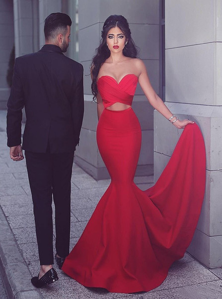699ec7aed94 Keyhole Cut Out Red Stretch Satin Mermaid Sweetheart Long Prom Dress