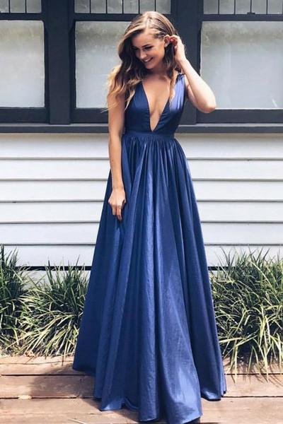 5615688019 Pockets Royal Blue Taffeta A-Line Deep V-Neck Prom Dress