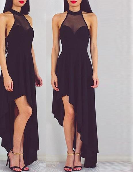 7b67746d7cb Jewel Sleeveless High Low Open Back Black Prom Dress