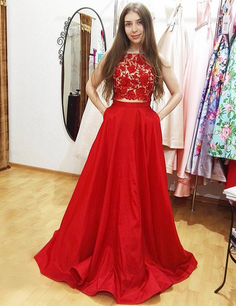 a3bcc8eaabd Two Piece Bateau Appliques Pockets Long Red Prom Dress