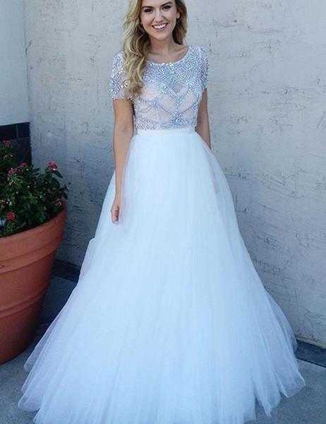 de7d07077a A-Line Short Sleeves Bateau Beading White Prom Dress