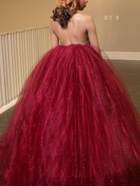 54cdcc6c90dd2 Ball-Gown Halter Floor-Length Burgundy Tulle Pageant Prom Dress