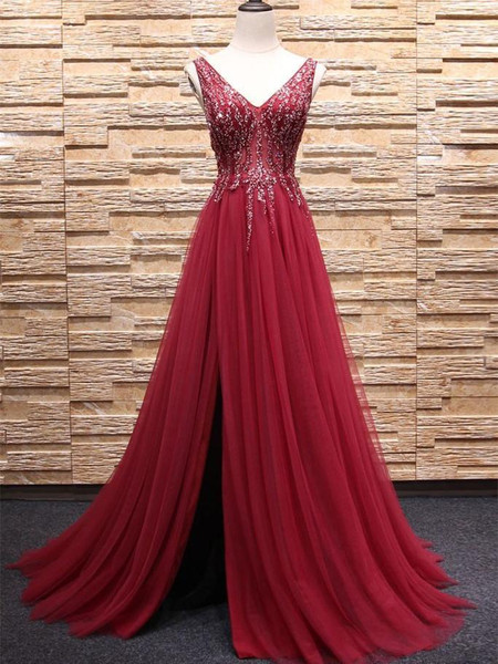 f24fc51e2 A-line V-neck Long Tulle Sequin Beaded Red Prom Dress