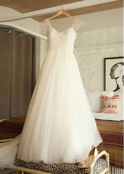 581c54bcdef4 Cap Sleeve Tulle Scoop Neckline A-line Detachable Belt Wedding Dress