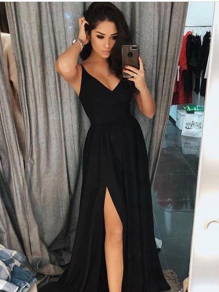 3dcd66aca6 Satin V-neck Long Black A-line Prom Dresses With Slit