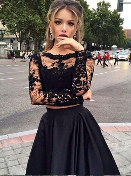 6acd53a812 Bateau Long Sleeves Satin Black Two Piece Prom Dress