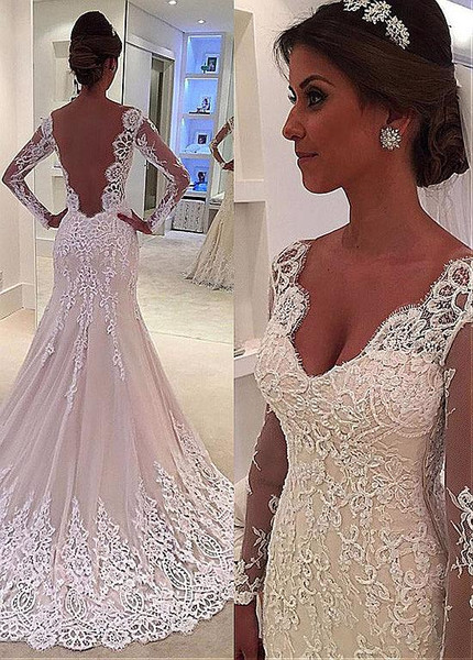 00620a953174 Tulle V-neck Beaded Lace Appliuqes Backless Mermaid Long Sleeves Wedding  Dress
