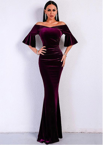 Purple Floor Length Evening Dress