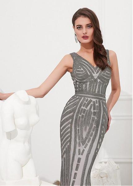 e1af003f086b Silver Tulle V-neck Rhinestone Floor-length Mermaid Evening Dress
