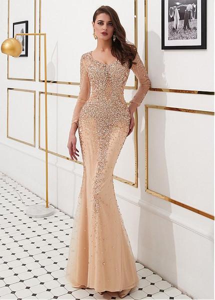 Gold Tulle V Neck Beading Long Sleeves Mermaid Evening Dress