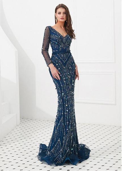 4be00d548f93 Lace V-neck Long Sleeve Navy Blue Floor-length Mermaid Evening Dress