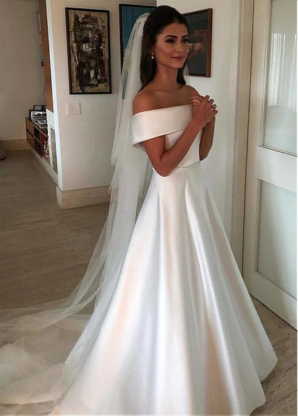 c9070d4f4c7 Belt   Bowknot Satin Off-the-shoulder A-line Wedding Dress