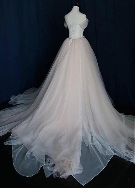 0de3b05b5472 Simple A-line Tulle Off-the-shoulder Wedding Dress With Belt