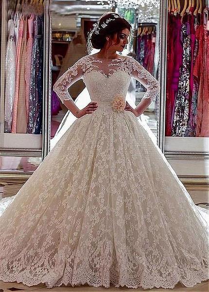 Jewel Long Sleeve Lace 3d Flowers Belt Ball Gown Wedding Dress