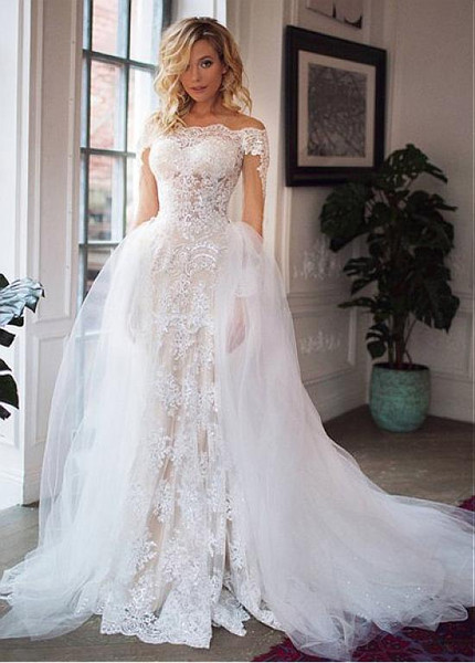 b2e110ed0ad Appliques Tulle Off-the-shoulder Detachable Skirt 2 In 1 Wedding Dress
