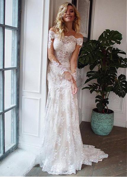 8a59e22d93e Appliques Tulle Off-the-shoulder Detachable Skirt 2 In 1 Wedding Dress