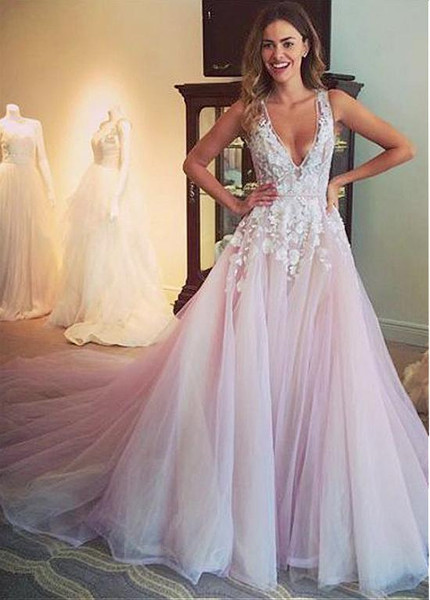 Tulle V-neck Neckline Pink Wedding Dress With Lace Appliques