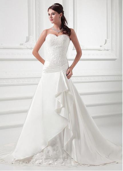 Sweetheart Wedding Dress.Dropped Waistline A Line Satin Sweetheart Wedding Dress