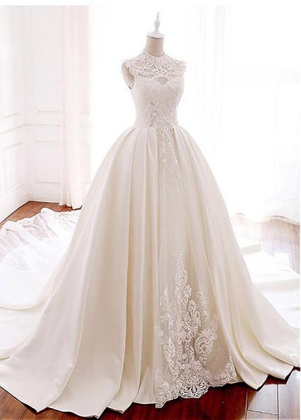 380c3f6b9ea Satin Illusion High Collar Beadings Ball Gown Wedding Dress
