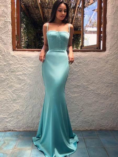 a49ffed22c07 Tiffany Blue Sexy Satin Spaghetti Strap Mermaid Prom Dress