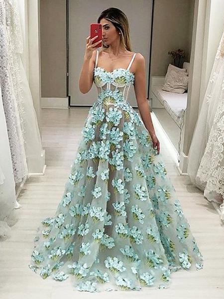 ff9929a21a Floral Organza Tiffany Blue Illusion Spaghetti Strap Prom Dress