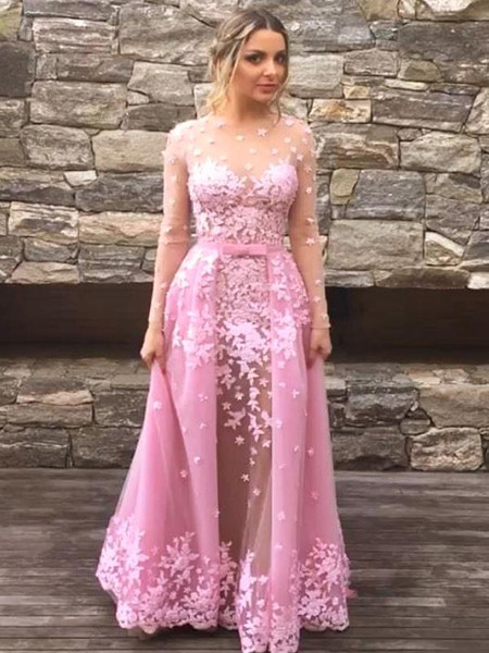 ac7c2ace566 Long Sleeve Appliques Detachable Over-Skirt Dusty Rose Illusion Prom Dress