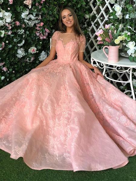 57d9fcad5e1 Appliques Short Sleeves Blush Pink Lace Zipper Long Prom Dress