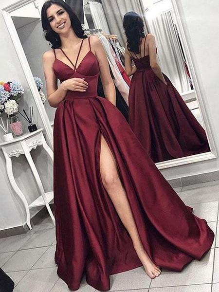 a3ff916084cc44 A Line V Neck Spaghetti Straps Satin Burgundy Prom Dresses with Pockets