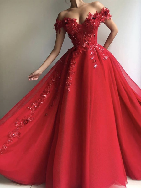 b4c5b3db3 A Line Off Shoulder Tulle Red Long Prom Dress with Appliques Sequins