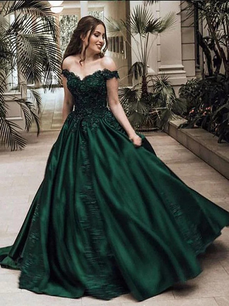 d219416a28 Ball Gown Off-the-Shoulder Green Lace Satin Prom Dress