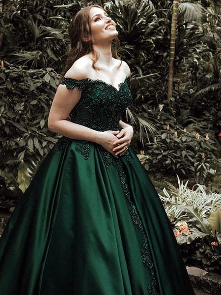 b65408400 Ball Gown Off-the-Shoulder Green Lace Satin Prom Dress