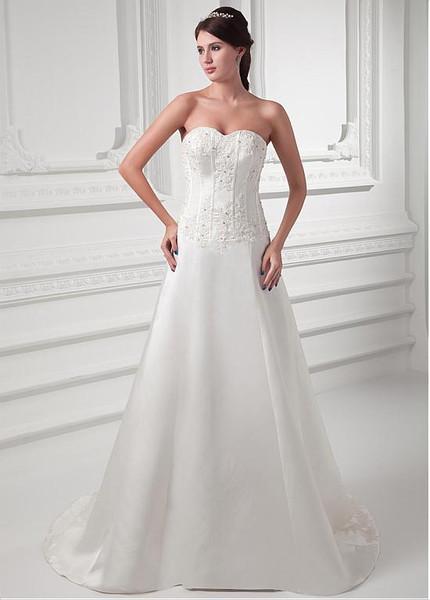 b5c3924e07c81 Beading Appliques Satin Sweetheart A-line Wedding Dress