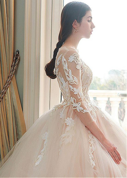 f11180d06cf3c Long Sleeve Appliques Tulle Jewel Ball Gown Wedding Dress