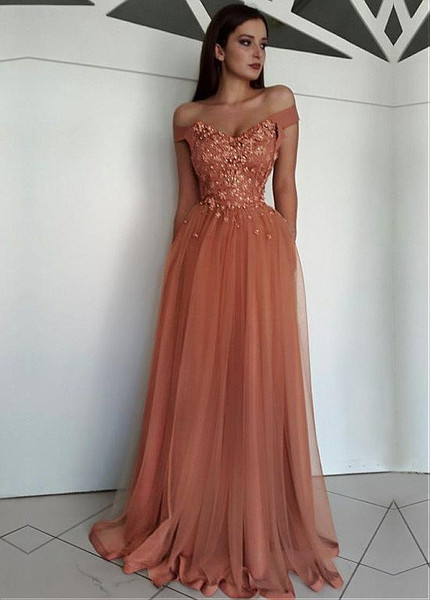 25c0cc8b7b Beading Appliques Tulle Off-the-shoulder Coral A-line Evening Dress