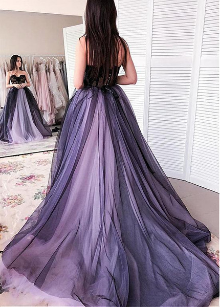 Tulle Sweetheart Purple Appliques Floor Length Ball Gown Prom Dress