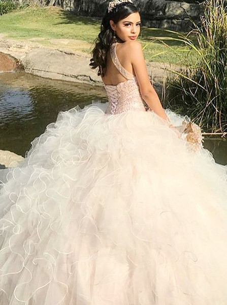 9905580593dc Beading Open Back Pearl Pink Quinceanera Ball Gown Jewel Dress