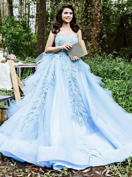 94a8fe12806 Ball Gown Sweetheart Appliques Beading Blue Satin Quinceanera Dress
